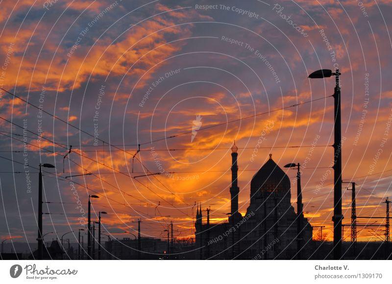 Yenidze Himmel Stadt Wolken Winter schwarz Gebäude Lampe Stimmung Deutschland orange leuchten Europa Schönes Wetter Romantik Abenteuer Bauwerk