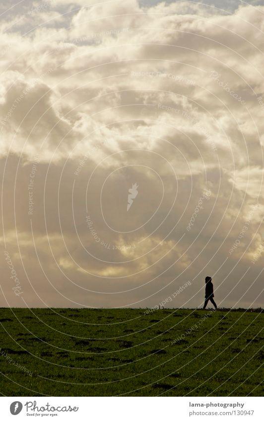 So close to heaven Mensch Himmel Wolken Einsamkeit Wiese Wege & Pfade hell gehen Feld laufen Spaziergang Ziel Frieden heilig Paradies Gott