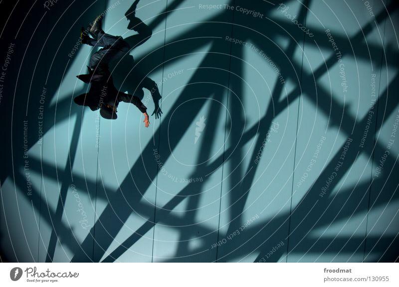 netzsurfer Superman aufstrebend Wand Streifen Anzug springen Nervosität vorwärts dumm geschäftlich Verlobung Mann maskulin zielstrebig Stil lässig diagonal Held