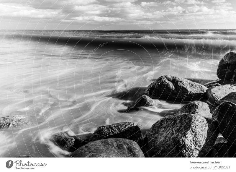 traurige Nordsee Natur Ferien & Urlaub & Reisen Sommer Wasser Sonne Erholung Meer Landschaft ruhig Wolken Strand Bewegung Schwimmen & Baden Zufriedenheit Idylle