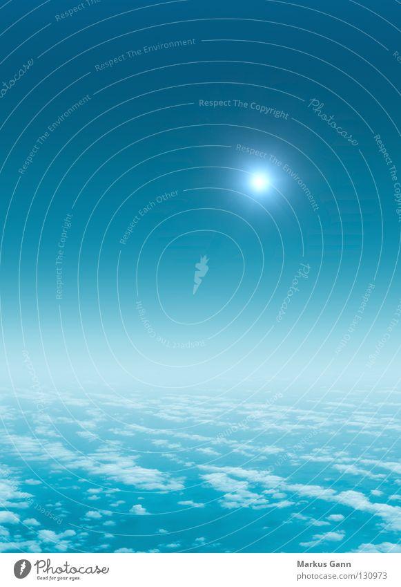 Über den Wolken Höhenflug Aussicht Hintergrundbild Schwerelosigkeit leicht Vogelperspektive Himmel Vertrauen Frieden Luftverkehr blau oben hoch Niveau fliegen