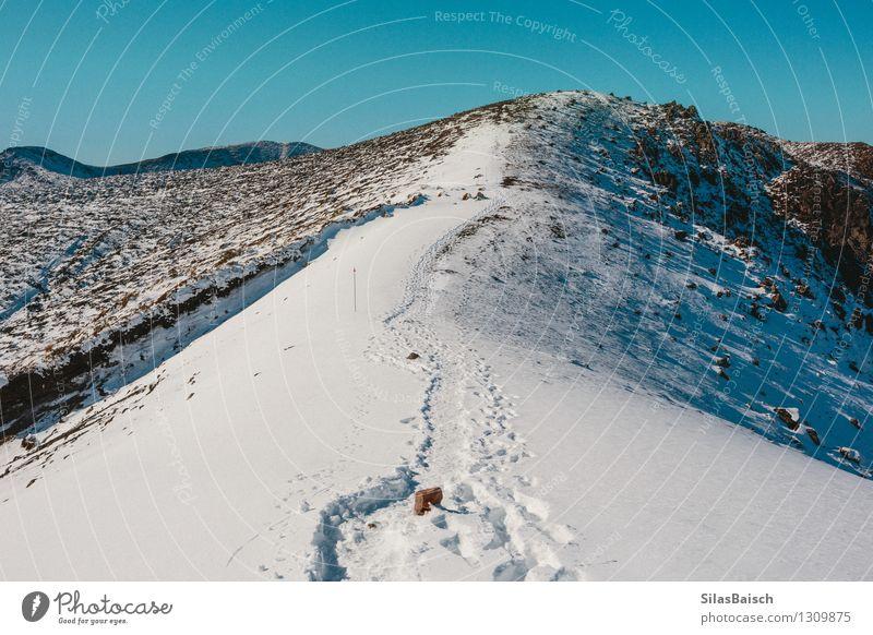 Langer Weg an die Spitze Natur Ferien & Urlaub & Reisen Landschaft Ferne Winter Berge u. Gebirge Umwelt Schnee Freiheit Felsen Eis Tourismus wandern Ausflug