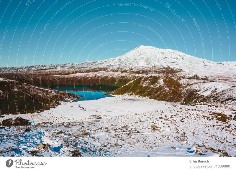 Bergsee in Neuseeland III Natur Ferien & Urlaub & Reisen Landschaft Ferne Winter Berge u. Gebirge Schnee Freiheit See Felsen Eis wandern Ausflug einzigartig
