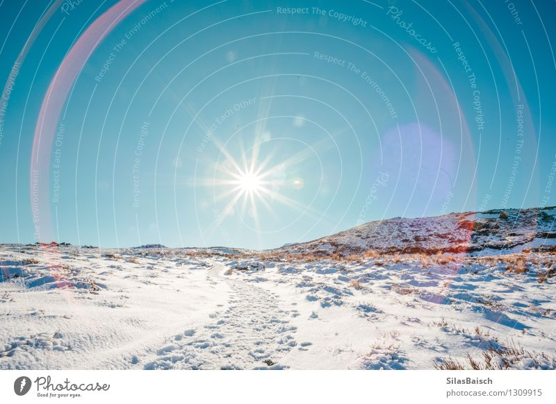 Sonneneruption Natur Ferien & Urlaub & Reisen Landschaft Ferne Winter Berge u. Gebirge Schnee Freiheit Felsen Eis Tourismus wandern laufen Ausflug
