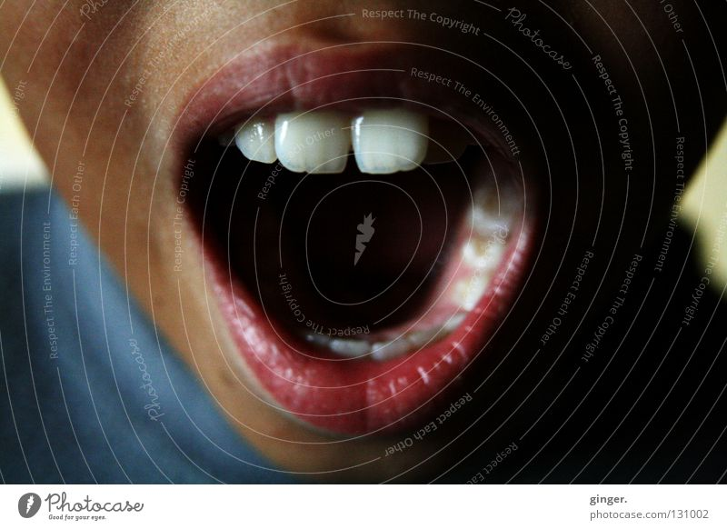 AAAH, hörst du denn mein Rufen nicht? Gesicht Kind sprechen Mund Lippen Zähne schreien dunkel hell oben weiß Schneidezahn singen Detailaufnahme offen