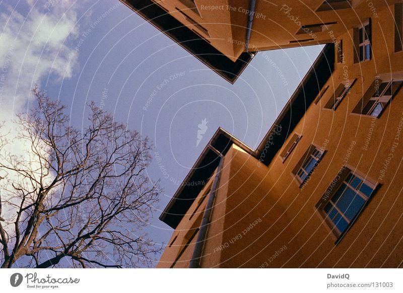 die letzte ecke Himmel blau gelb Fenster Linie Wohnung Fassade hoch Ecke Häusliches Leben Dach Teile u. Stücke Bauernhof Etage aufwärts Geometrie