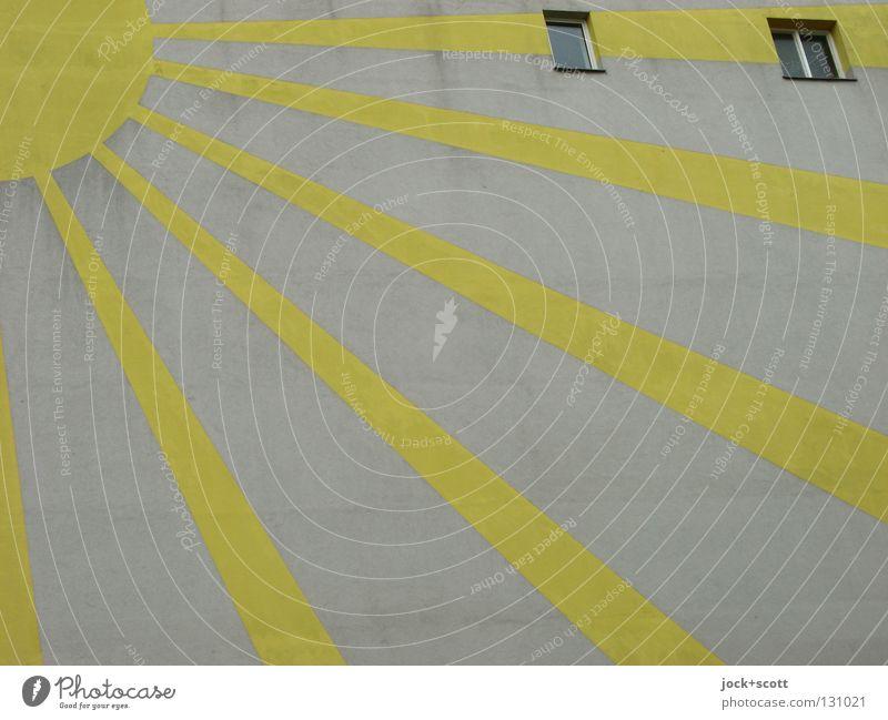 365 Tage Sonnenschein Haus Fenster Wärme leuchten Kraft Kreativität einfach Streifen Zeichen rund Grafik u. Illustration Jahreszeiten rein gut stark