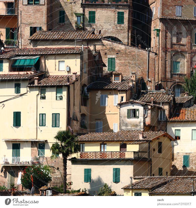 Nachbarschaft Italien Toskana Dorf Kleinstadt Stadtzentrum Altstadt überbevölkert Haus Hütte Bauwerk Gebäude Architektur Mauer Wand Fassade Balkon Terrasse