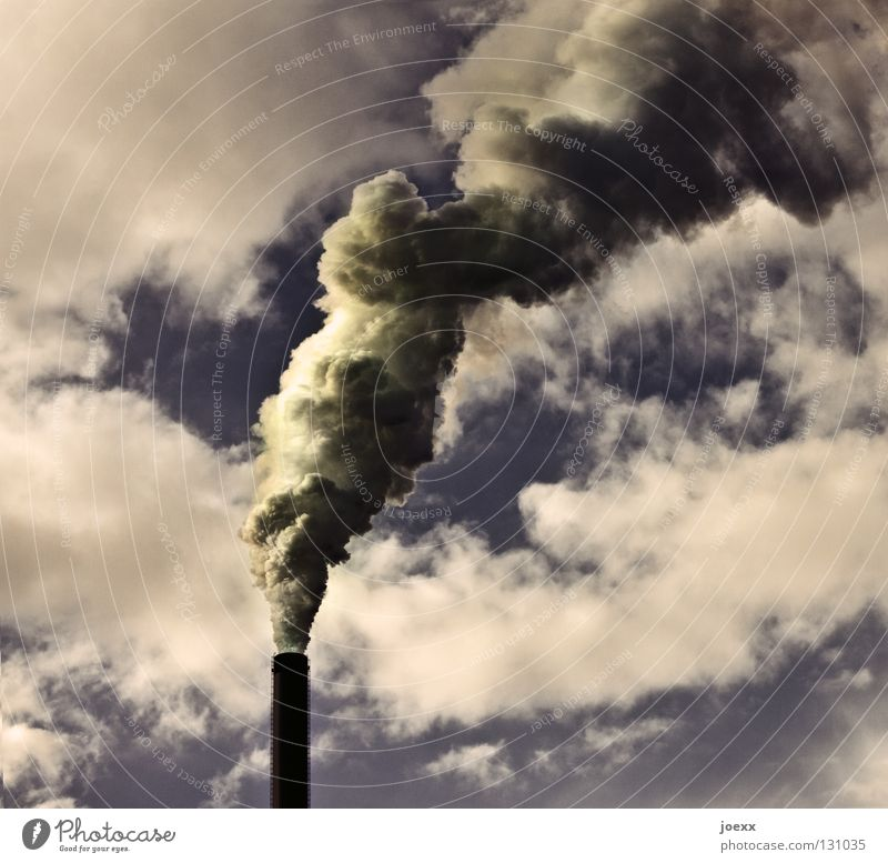 Auspuffanlage II Himmel Natur grün Umwelt gelb Stimmung hoch Klima Industrie Industriefotografie viele Rauch Fabrik Umweltschutz Röhren dick