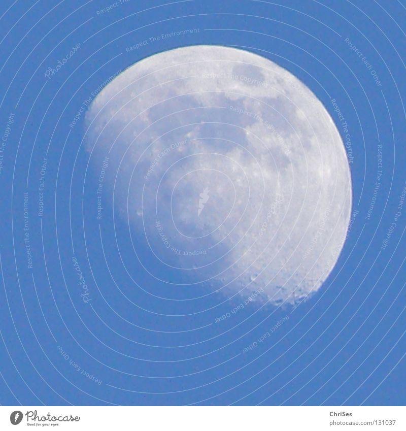 BlueMoon Himmel weiß blau Winter kalt grau Weltall Mond Schönes Wetter Himmelskörper & Weltall Nordwalde Vulkankrater abnehmend
