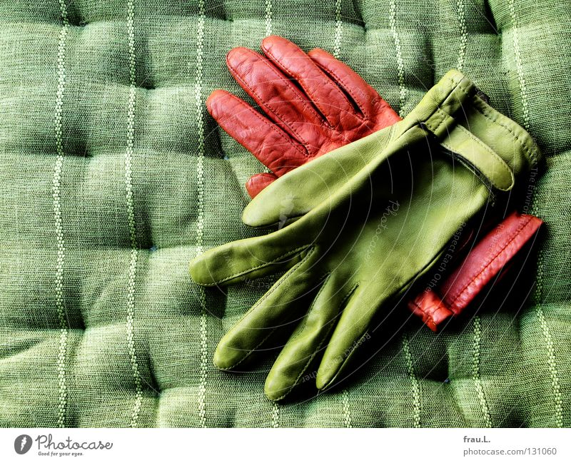 vereint grün orange Freundschaft Zusammensein paarweise Bekleidung Dekoration & Verzierung Stoff kuschlig Leder Gegenteil links Kissen Handschuhe rechts