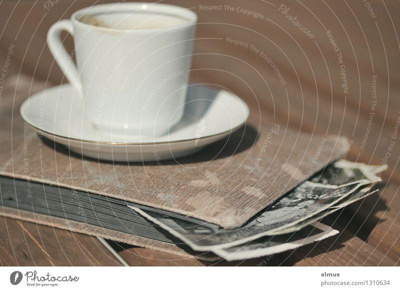 Espresso im Garten Tasse Fotoalbum Fotografie Roman Erzählung alt historisch einzigartig Originalität dankbar Traurigkeit Schmerz Trauer verlieren Ewigkeit