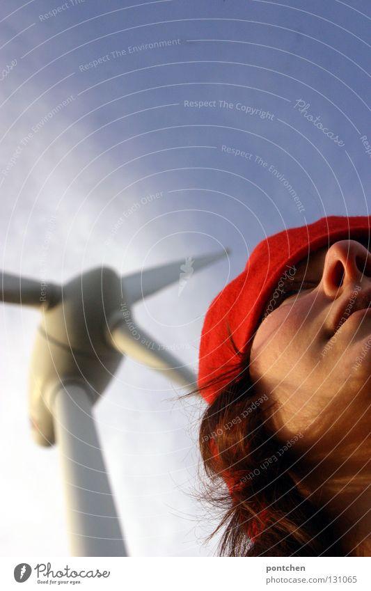 """""""find ich schön"""" Mensch Frau Himmel Jugendliche Sonne rot Junge Frau Haus Erwachsene feminin Haare & Frisuren Wind Häusliches Leben Energiewirtschaft Nase"""