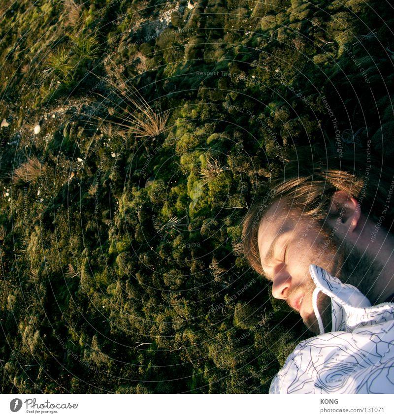 und mit achtundzwanzig fing ich dann an moos anzusetzten.... Mann Natur grün schlafen Bett Vergänglichkeit Gute Nacht