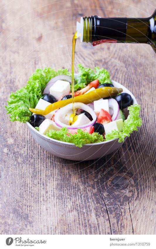 Öl ins griechische Feuer gießen Essen Holz Lebensmittel authentisch genießen gut Bioprodukte Schalen & Schüsseln Abendessen Vegetarische Ernährung Salatbeilage