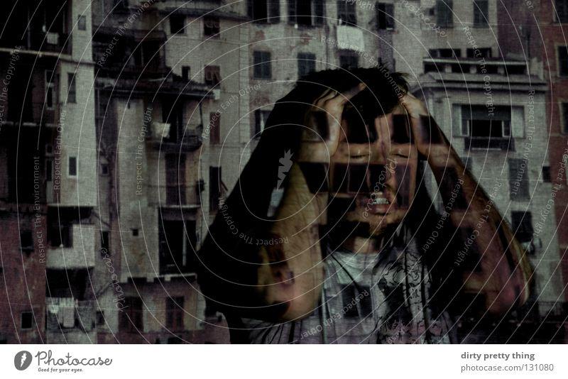 augen zu. geschlossene Augen Denken Porträt Fenster Dia Projektor Konzentration Schatten Stadt projezieren verstecken
