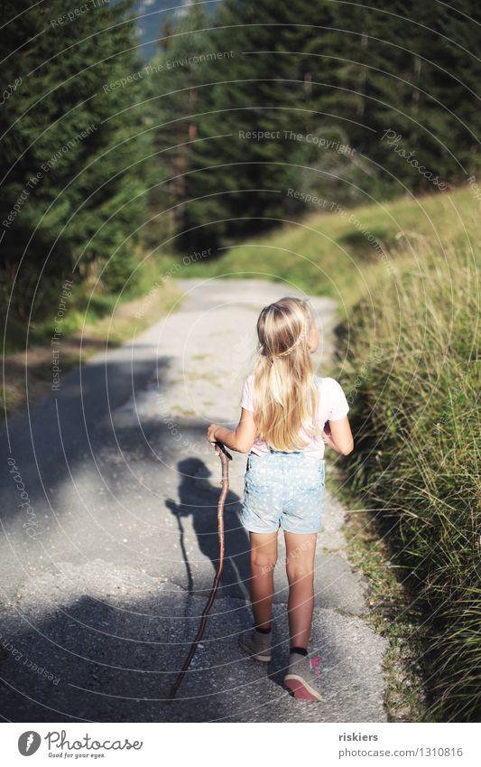 Wandertag Mensch Kind Natur Sommer Erholung Mädchen Wald Umwelt natürlich feminin Gesundheit Glück Zufriedenheit wandern Kindheit frei
