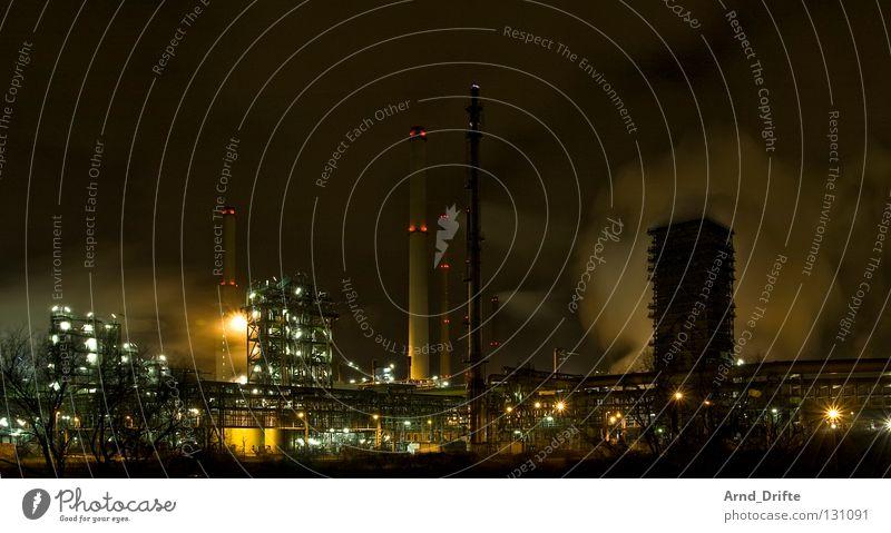 Ruhrpott at night schwarz Wärme Metall dreckig Umwelt Kraft Industrie Energiewirtschaft Elektrizität Technik & Technologie Fabrik Klima Physik Gastronomie Rauch