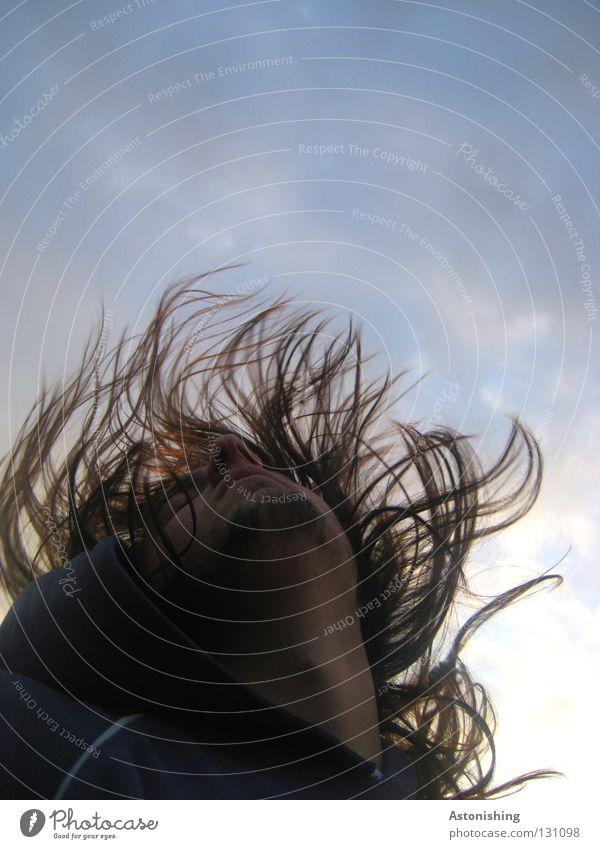 banging Mensch Mann blau Freude Gesicht Bewegung Haare & Frisuren Kopf Nase fliegen Kinn schütteln