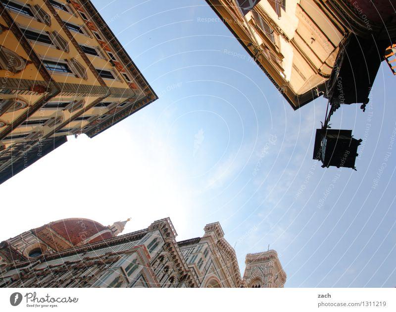 Florenz mit Lampe Stadt blau Haus Architektur Religion & Glaube Platz Kirche Italien Turm historisch Straßenbeleuchtung Bauwerk Wahrzeichen Stadtzentrum