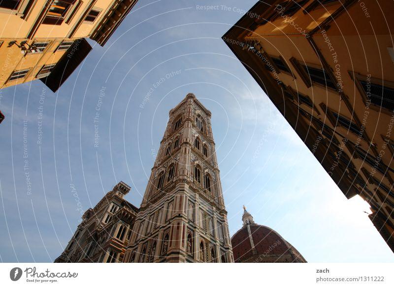 Dom Minanz Ferien & Urlaub & Reisen Tourismus Städtereise Wolkenloser Himmel Schönes Wetter Florenz Italien Toskana Stadt Stadtzentrum Altstadt Menschenleer
