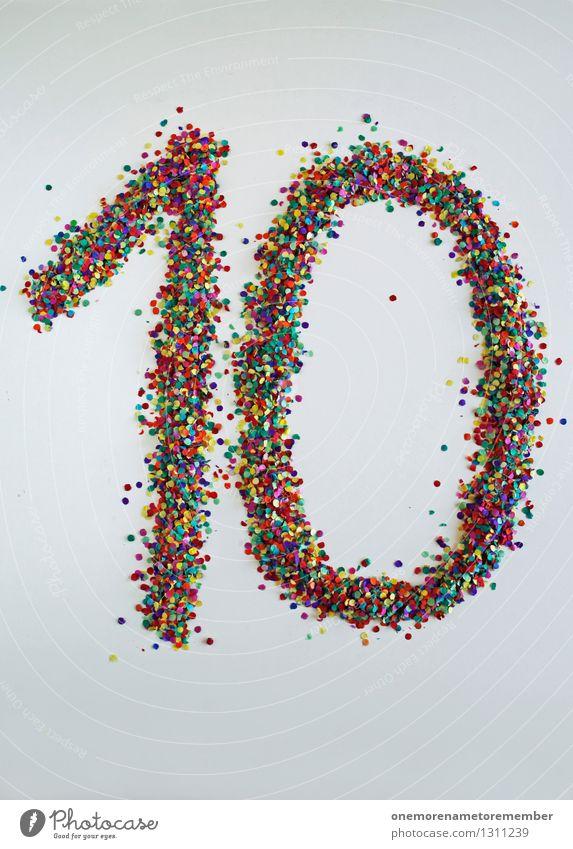 10 wie: Gleich kommt die 9 Kunst Kunstwerk ästhetisch Kreativität 8-13 Jahre Geburtstag Konfetti Ziffern & Zahlen Jubiläum gestalten Countdown Freude mehrfarbig