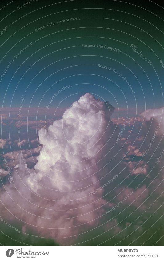 Über den Wolken.......... oder Cumulus congestus Himmel weiß blau Wolken Stimmung Flugzeug hoch Luftverkehr Aussicht Kumulus