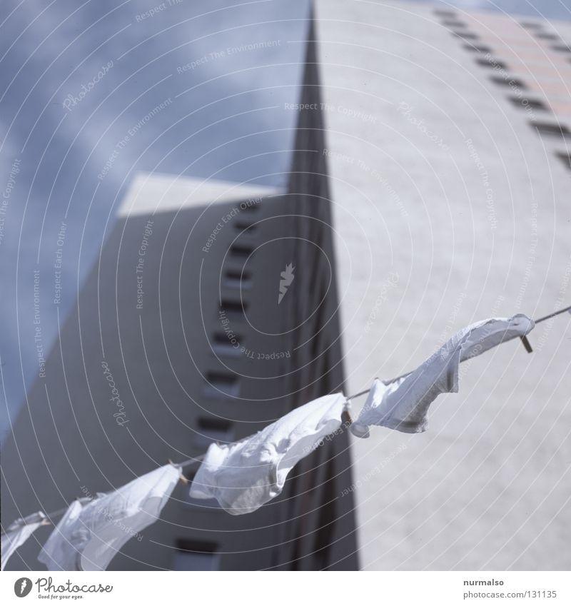 Schlüpperwaschtag Himmel Mann Haus Fenster Graffiti Wind Wohnung Fassade hoch frisch Bad Sauberkeit festhalten Wäsche waschen Griff Wäsche