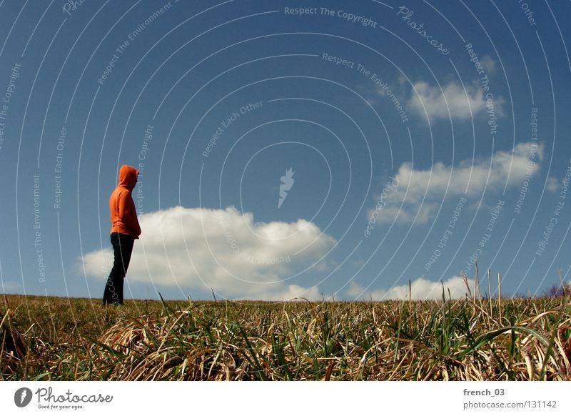 Ich mag Wolken Mensch Kapuze Pullover Jacke weiß See Denken Zwerg gesichtslos maskulin unerkannt Kapuzenpullover Hand zyan schlechtes Wetter Froschperspektive