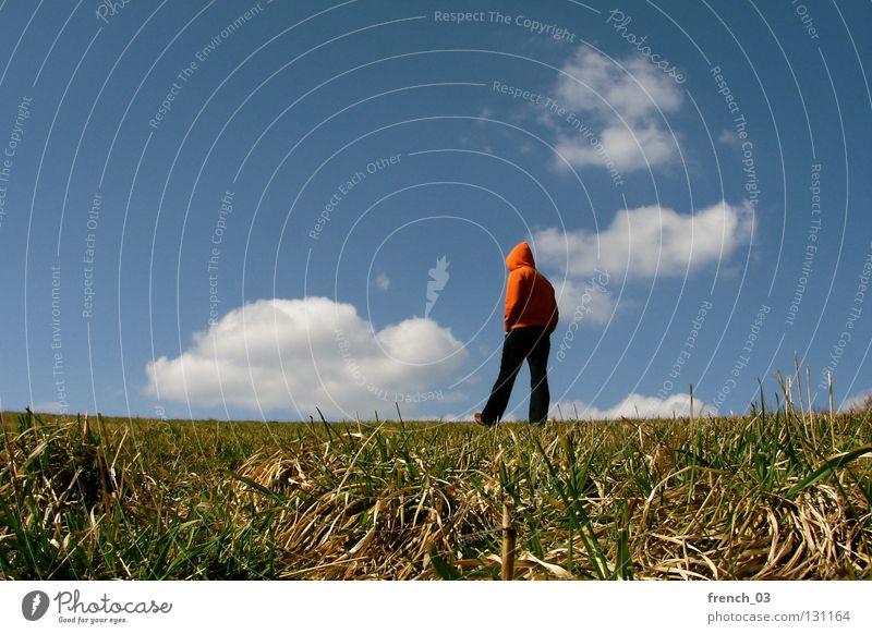 Ich mag Wolken II Mensch Kapuze Pullover Jacke weiß See Denken Zwerg gesichtslos maskulin unerkannt Kapuzenpullover Hand zyan schlechtes Wetter