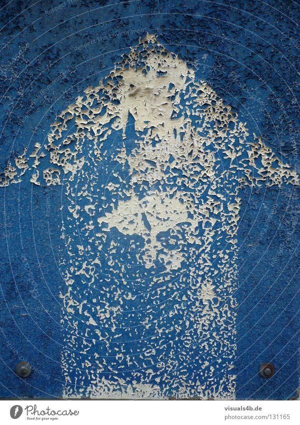 Blue Arrow weiß Zukunft abblättern Kalk Wand Hintergrundbild bewegungslos graphisch Linearität Nahaufnahme Design Richtung Vergangenheit Wirtschaftskrise