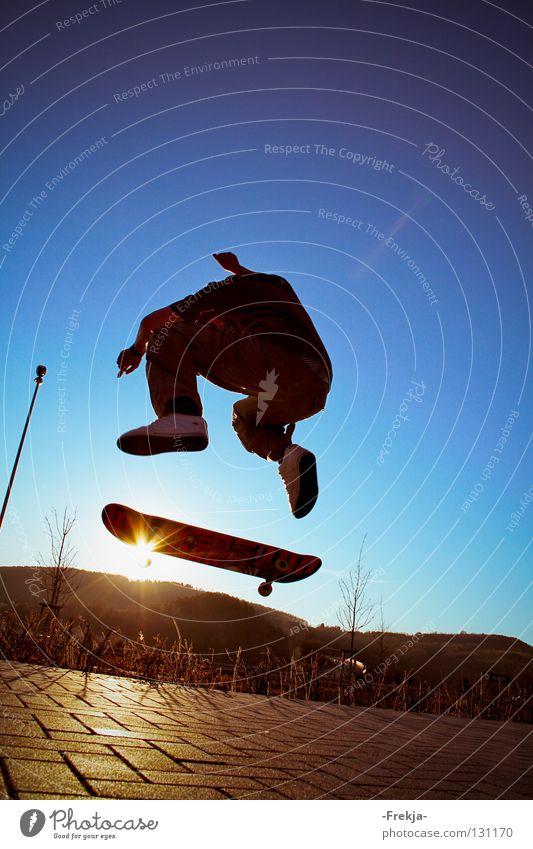 Sun wheel springen Silhouette Sport Spielen Skateboarding Sonne fliegen silhoutte sun Blauer Himmel
