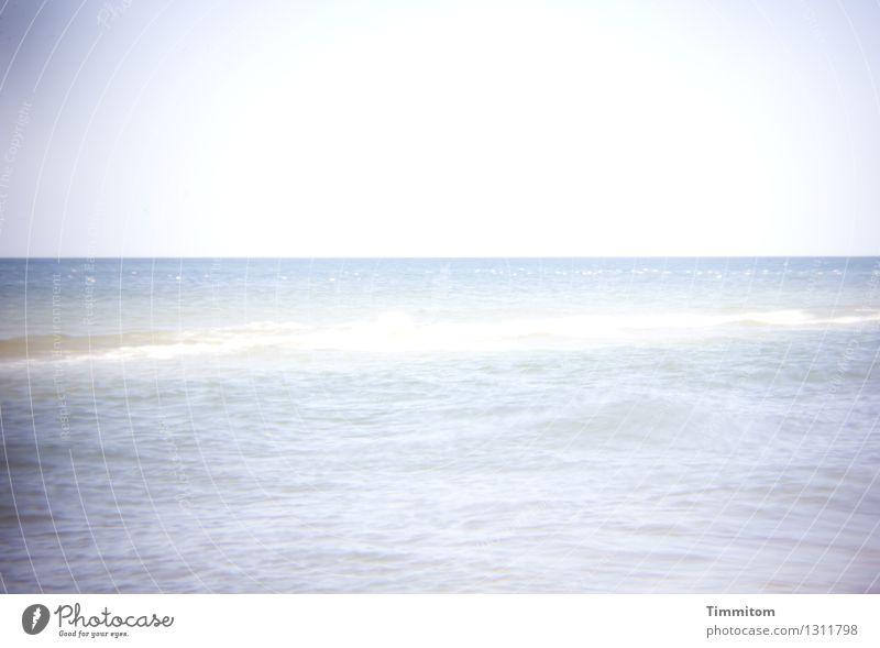 Nordsee, ruhig. Ferien & Urlaub & Reisen Sommer Sommerurlaub Meer Wellen Umwelt Natur Urelemente Wasser Himmel Schönes Wetter Blick hell natürlich blau grau