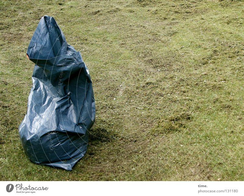 Dies ist kein Sack Reis und hier ist auch nicht China blau Wiese Gras Garten Park Arbeit & Erwerbstätigkeit Rasen Müll Statue Gartenarbeit Müllbehälter Beutel