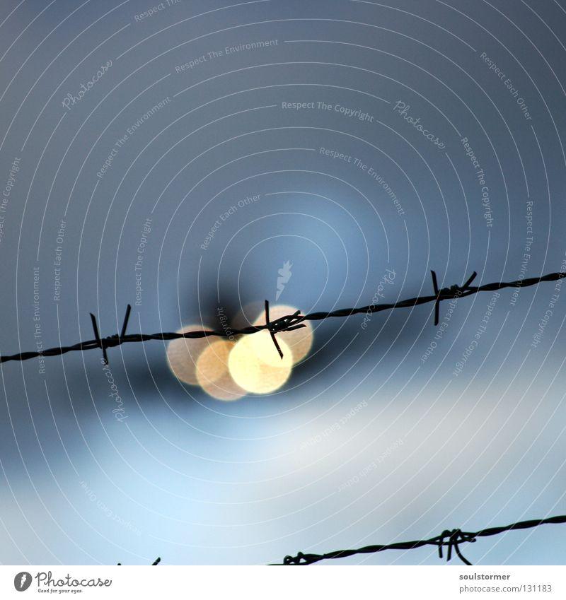 Knasturlaub Stacheldraht Zaun über den Wolken gefährlich gehen Ferien & Urlaub & Reisen Unschärfe Quadrat Flughafen Luftverkehr Flucht Landescheinwerfer Himmel