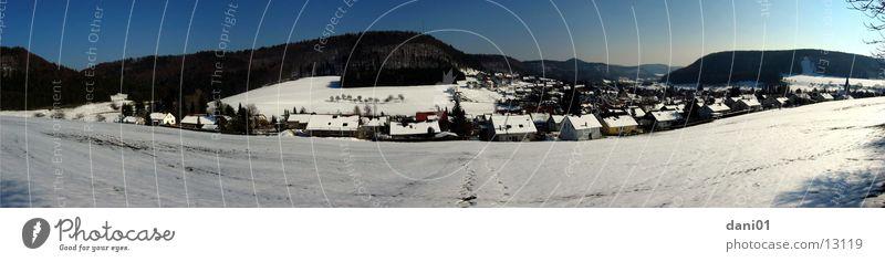 Schneepanorama Albstadt Pfeffingen Winter Landschaft groß Panorama (Bildformat) Schwäbische Alb Skigebiet Balingen