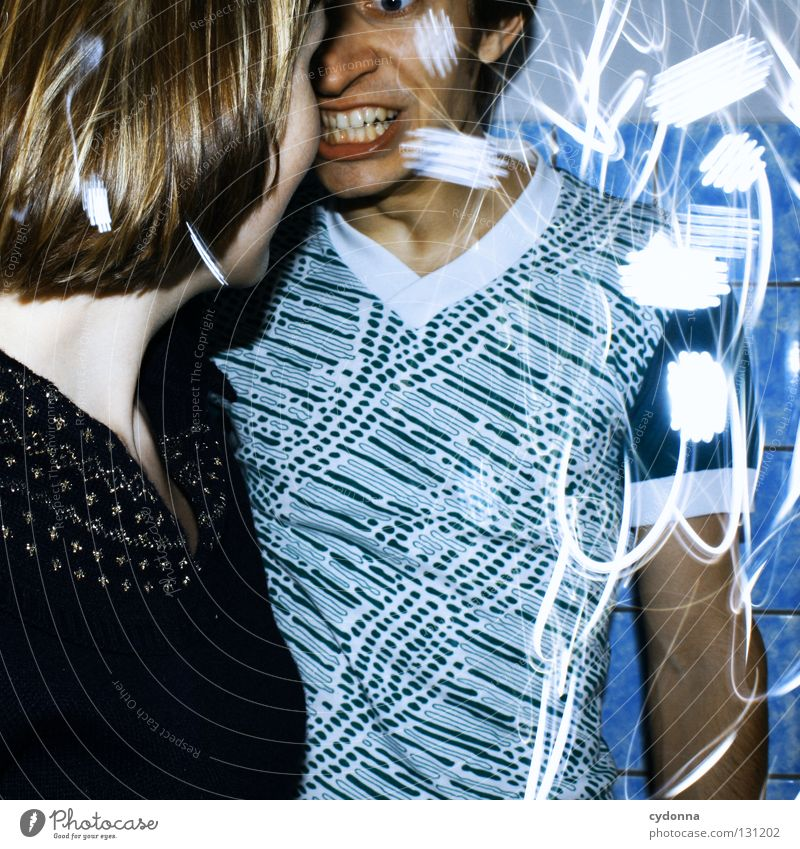 Kurze Unterbrechung Frau Mensch Mann blau Freude Farbe Leben Gefühle Stil Party Bewegung Denken Erde Linie Paar Kraft