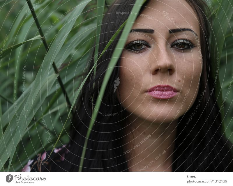 Nastya feminin Frau Erwachsene 1 Mensch Schilfrohr Küste schwarzhaarig langhaarig beobachten Denken Blick warten schön selbstbewußt Coolness Kraft Willensstärke