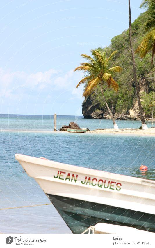 urlaub Wasser Strand Wasserfahrzeug Kuba Palme Kleine Antillen St. Lucia Marigot Bay