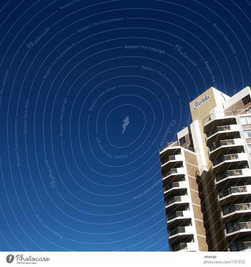 Florida Himmel blau Stadt Ferien & Urlaub & Reisen Sommer Einsamkeit Haus Leben Fenster Architektur Linie Wohnung Beton hoch Design Hochhaus