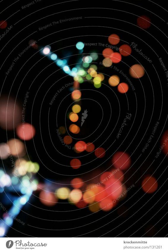 Lichterbaum abstrakt Kreis Nacht rosa rot Ausgang Nachtleben Unschärfe Lichterkette Farbe Lampe Punkt night blau orange