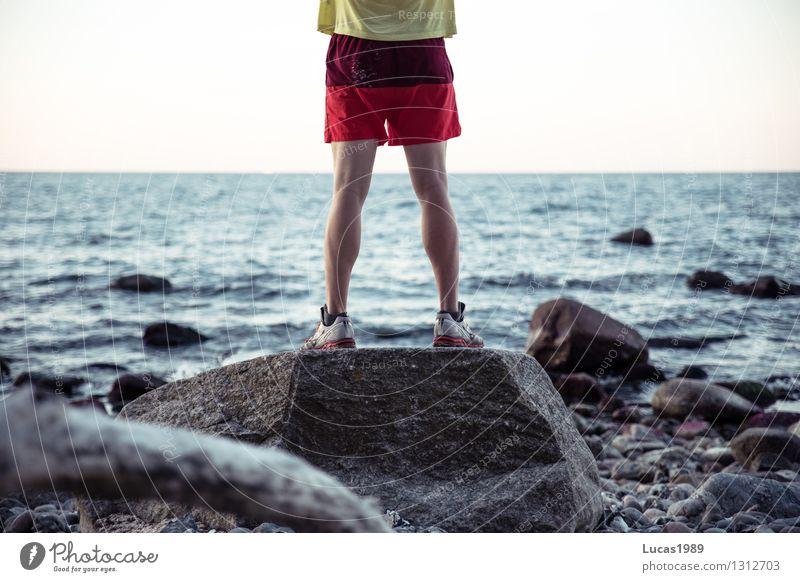 Sandig Ferien & Urlaub & Reisen Jugendliche Mann Sommer Wasser Erholung Meer Junger Mann Ferne Strand Erwachsene Küste Sport Freiheit Felsen Tourismus
