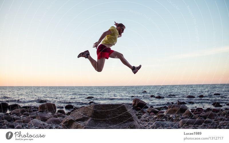 Hochsprung Sport Fitness Sport-Training Leichtathletik Sportler Sportveranstaltung Erfolg Weitsprung springen hüpfen Joggen Mensch maskulin Junger Mann