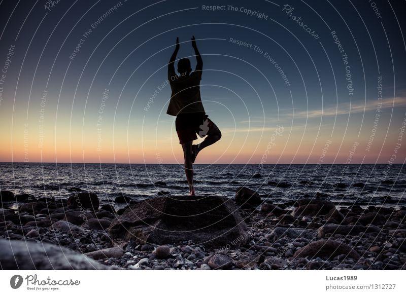 Yoga für Männer Mensch Jugendliche Mann Wasser Meer Junger Mann ruhig Strand Erwachsene Umwelt Gefühle Küste Sport Glück maskulin Kraft