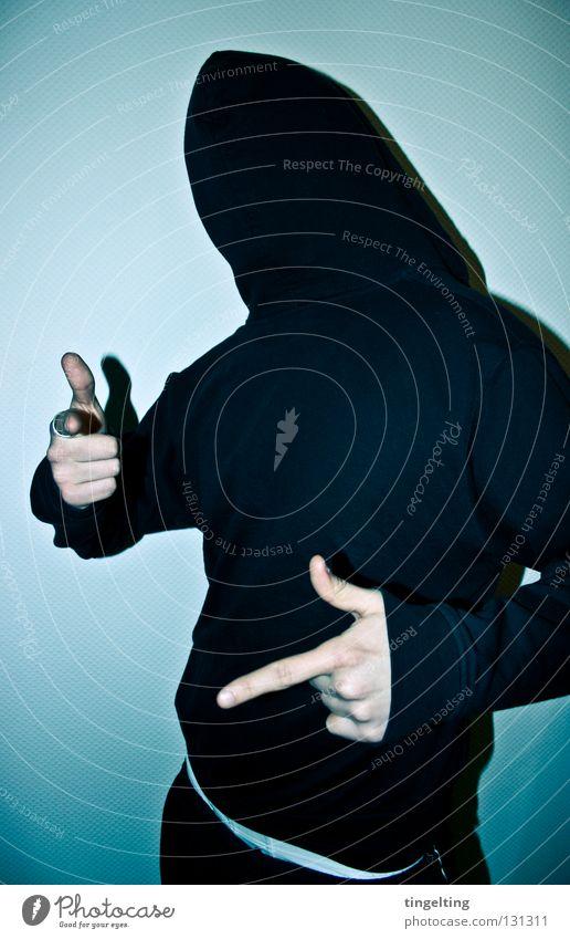 paeng paeng Mann Hand weiß blau Freude schwarz kalt maskulin Finger Maske Jacke Pullover Kapuze frontal bedecken Rock `n` Roll