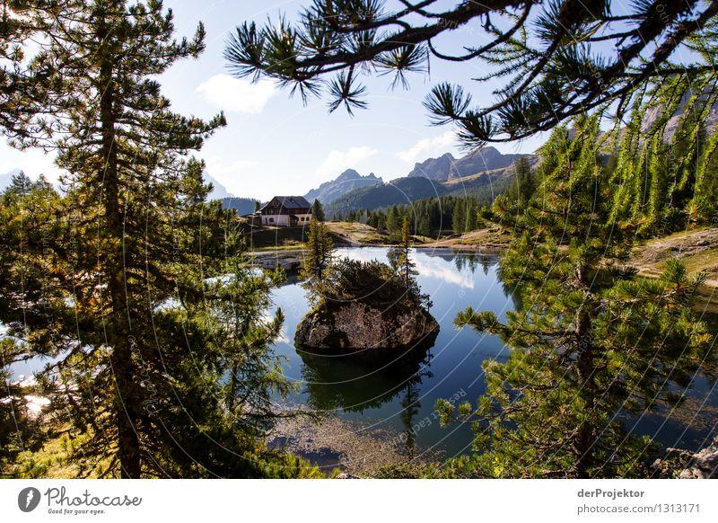 Morgens am See: Rifugio Croda da Logo Ferien & Urlaub & Reisen Tourismus Ausflug Abenteuer Ferne Freiheit Sommerurlaub Berge u. Gebirge wandern Umwelt Natur