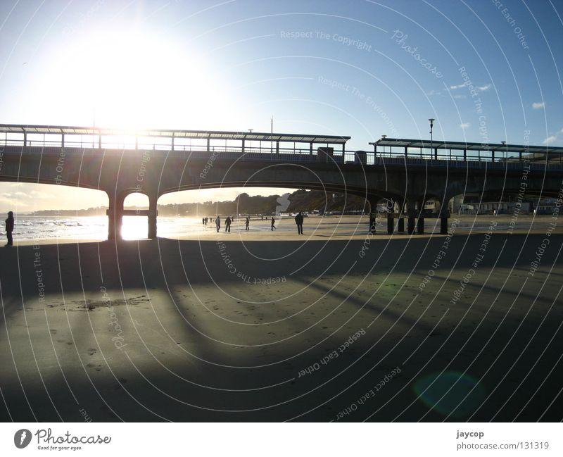 Beach gate Strand Mensch Erholung Himmel Sonnenuntergang Meer sea morze sun sky clouds s&#322 o&#324 ce chmury ludzie Gate bridge blue