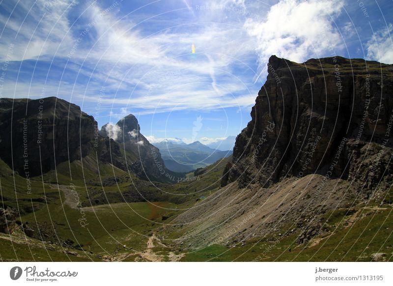 Dolomiten Ferien & Urlaub & Reisen Ferne Freiheit Sommer Sommerurlaub Berge u. Gebirge wandern Natur Landschaft Himmel Wolken Schönes Wetter Felsen Alpen Gipfel