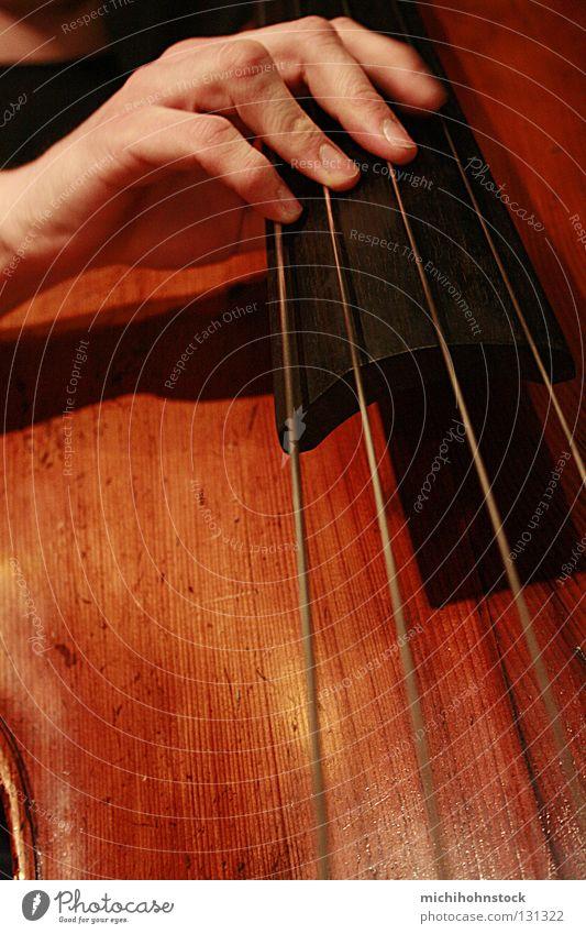 e a d g Hand Musik Holz braun Konzert Musiker live Saite Jazz Kontrabass Musikinstrument