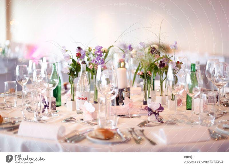 Gedeck Feste & Feiern hell Glas Ernährung Kitsch Geschirr Festessen Tischdekoration